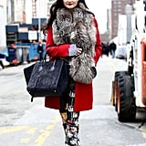 Ultraluxe fur and a suede Céline were the sophisticated contrasts to more whimsical print on bottom.