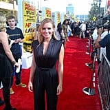 Kristen Bell looked glamorous in a black jumpsuit at the Hit and Run red-carpet premiere. Source: Twitter user daxshepard1