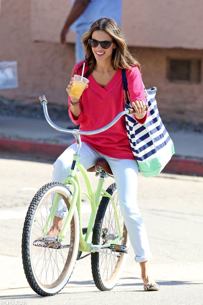 Alessandra Ambrosio was all smiles on the set of her shoot.
