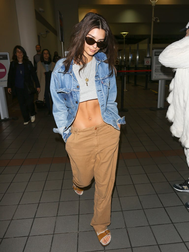 Balance Out a Crop Top With an Oversize Jean Jacket