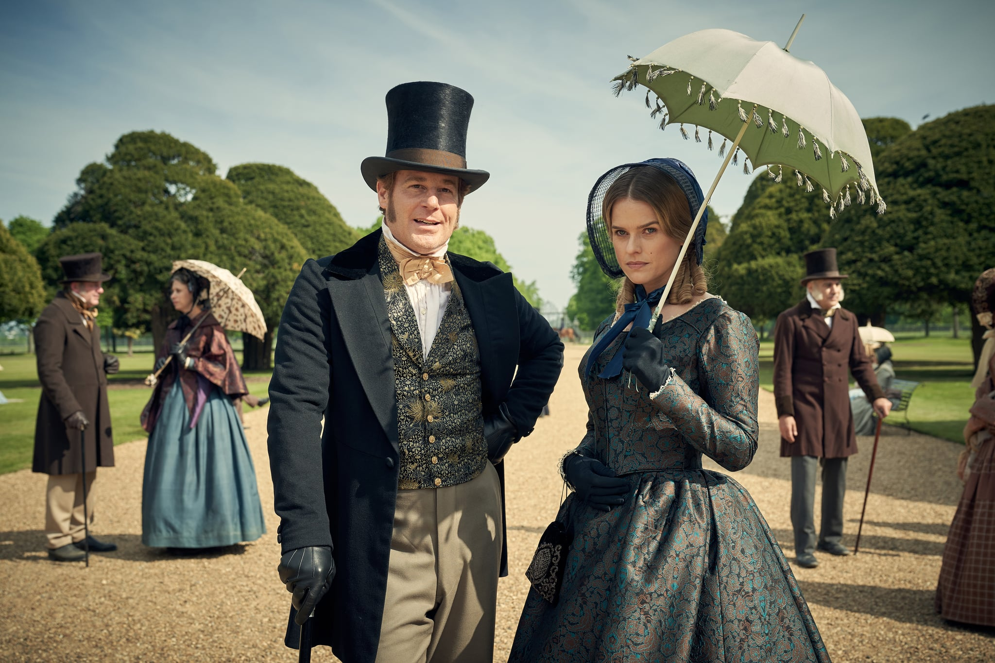 EMBARGIOED UNTIL 5.00PM ON 4TH jUNE 2019.CARNIVAL FILMS FOR ITVBELGRAVIAPictured:ADAM JAMES as John Bellasis and ALICE EVE as Susan Trenchard.This image is the copyright of Carnival Films.