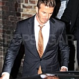 David Beckham was dapper in a suit.