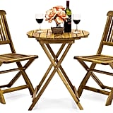 Best Choice Products 3-Piece Folding Acacia Wood Patio Bistro Set