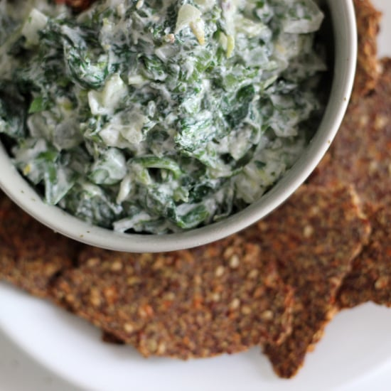 Healthy Spinach Dip With Flaxseed Crackers