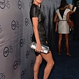 Angie Harmon showed off her stems in a hot Azede Jean-Pierre leather minidress at TNT's 25th Anniversary Party.