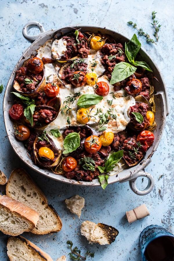 Italian Turkey and Tomato Basil Eggplant Roll Pasta Bake