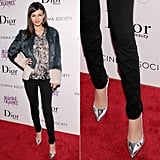 Victoria Justice sported a printed top, two-tone fur jacket, and black skinny jeans with metallic silver pointy pumps at the NYC screening of Beautiful Creatures.