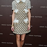 Olivia Palermo outfitted another expert high-low pairing in a Louis Vuitton shift and Zara heels at the Louis Vuitton Maison opening in Munich.