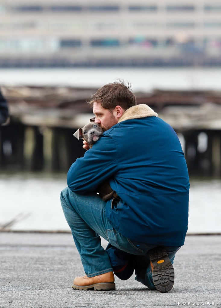 Tom Hardy and his four-legged costar shared a moment on the set of his film The Drop in March 2014.