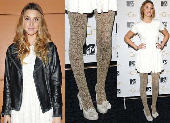 Photos of Whitney Port in London in Gold Tights and White Dress 2009-10-07 02:51:31