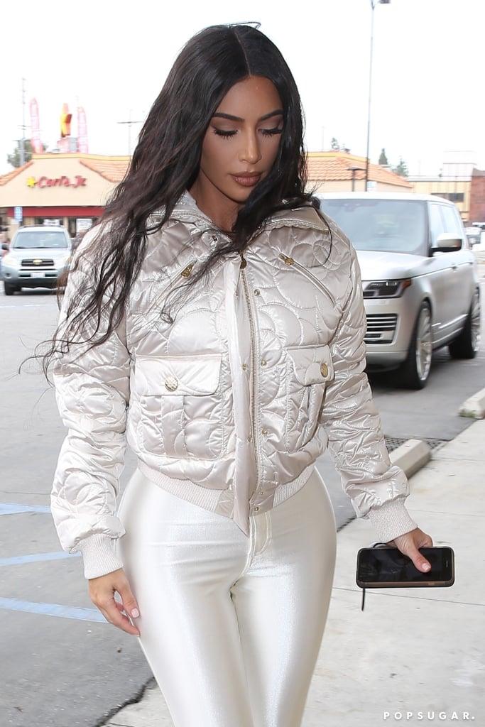 Kim Kardashian S White Leggings And Chanel Jacket Popsugar Fashion