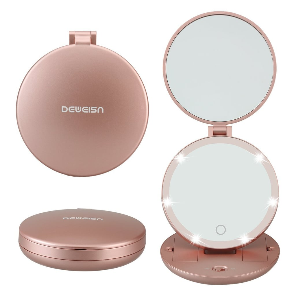 DeWEISN Double-Side Folding Lighted Travel Mirror