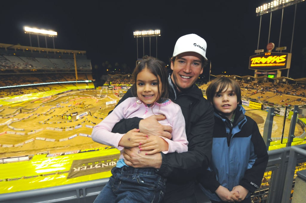 Mark-Paul Gosselaar worked his fatherhood skills with kids Michael and Ava when he took them to a supercross race in LA during January 2012.