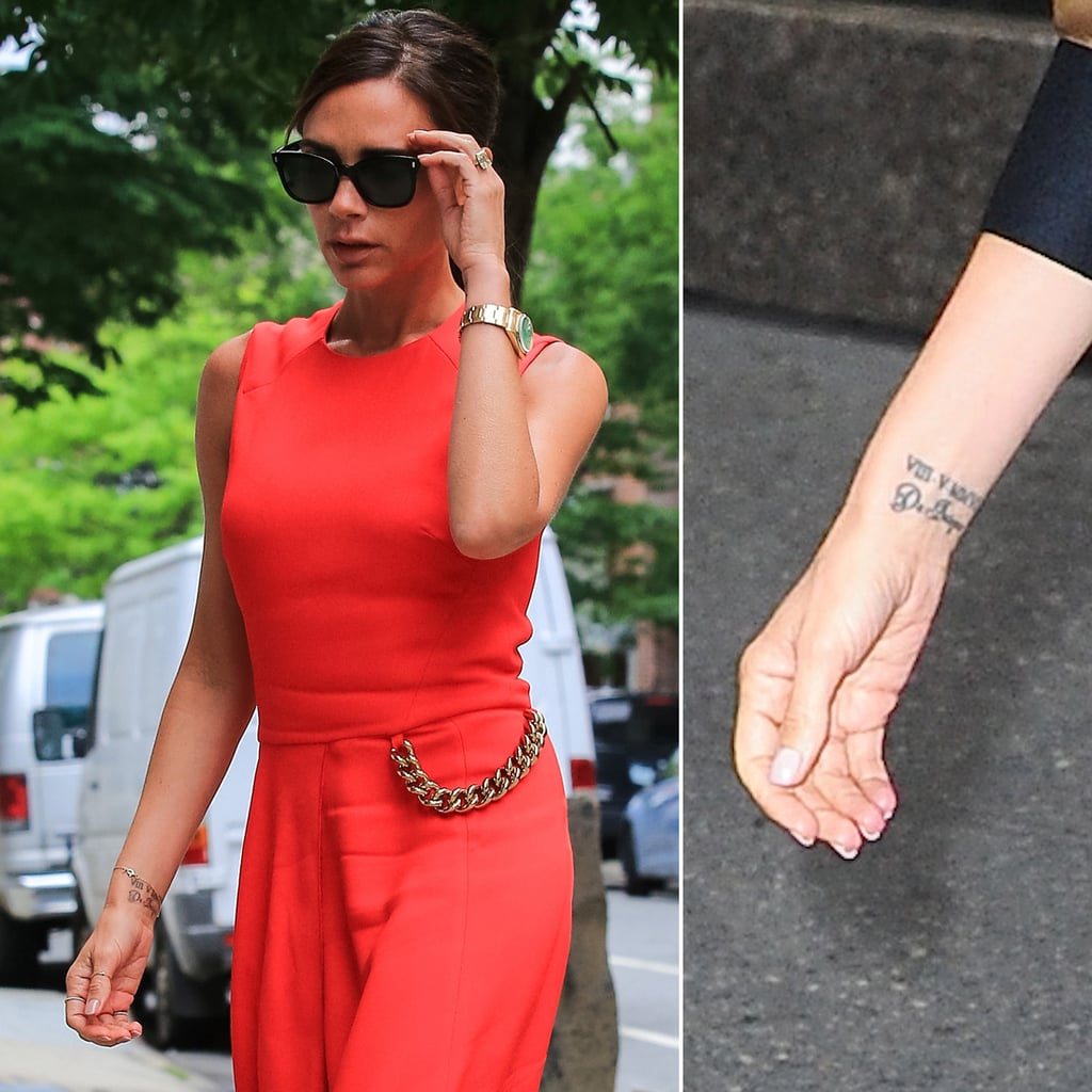 """The tattoo on Victoria Beckham's left wrist reportedly says """"VIII-V-MMVI,"""" or May 8, 2006, the day she renewed her vows with David Beckham. According to reports, David has the same tattoo."""