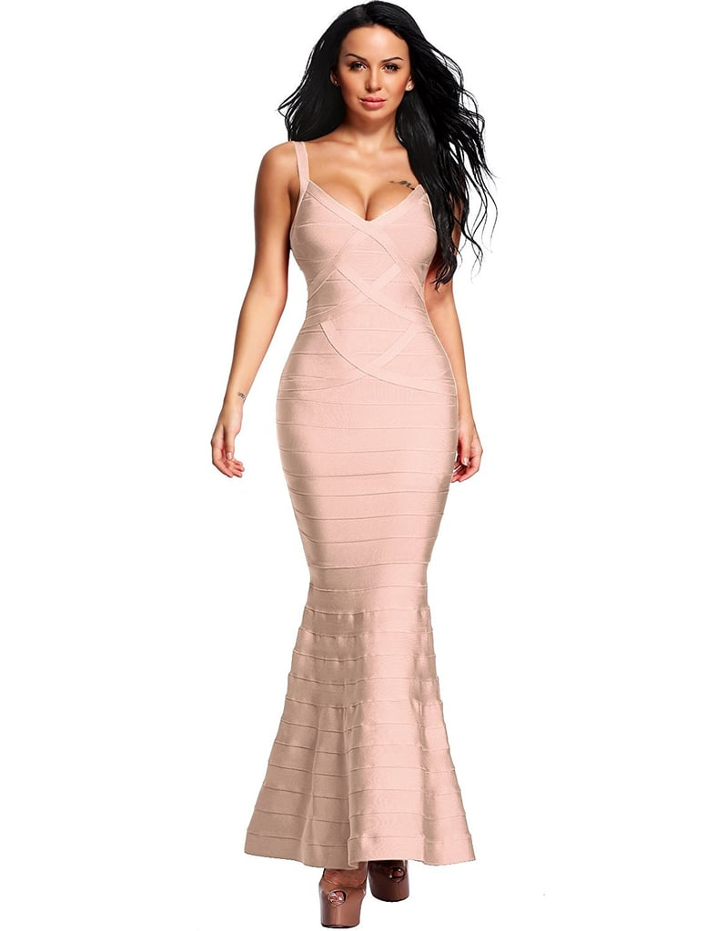 Hego Women's V-Neck Backless Fishtail Bandage Formal Evening Dress