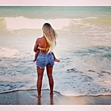Beyoncé and Blue Ivy soaked up the sea air together. Source: Instagram user beyonce