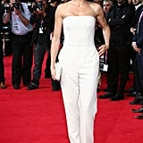 Cameron Diaz wore a white strapless Stella McCartney jumpsuit.