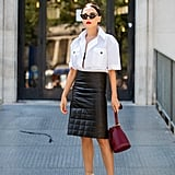 Style White Heels With a White Top and Black Skirt