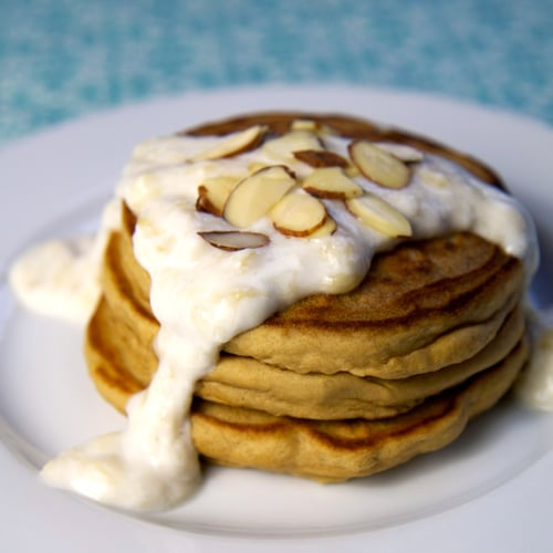 Almond Protein Pancakes With Banana Cream Sauce