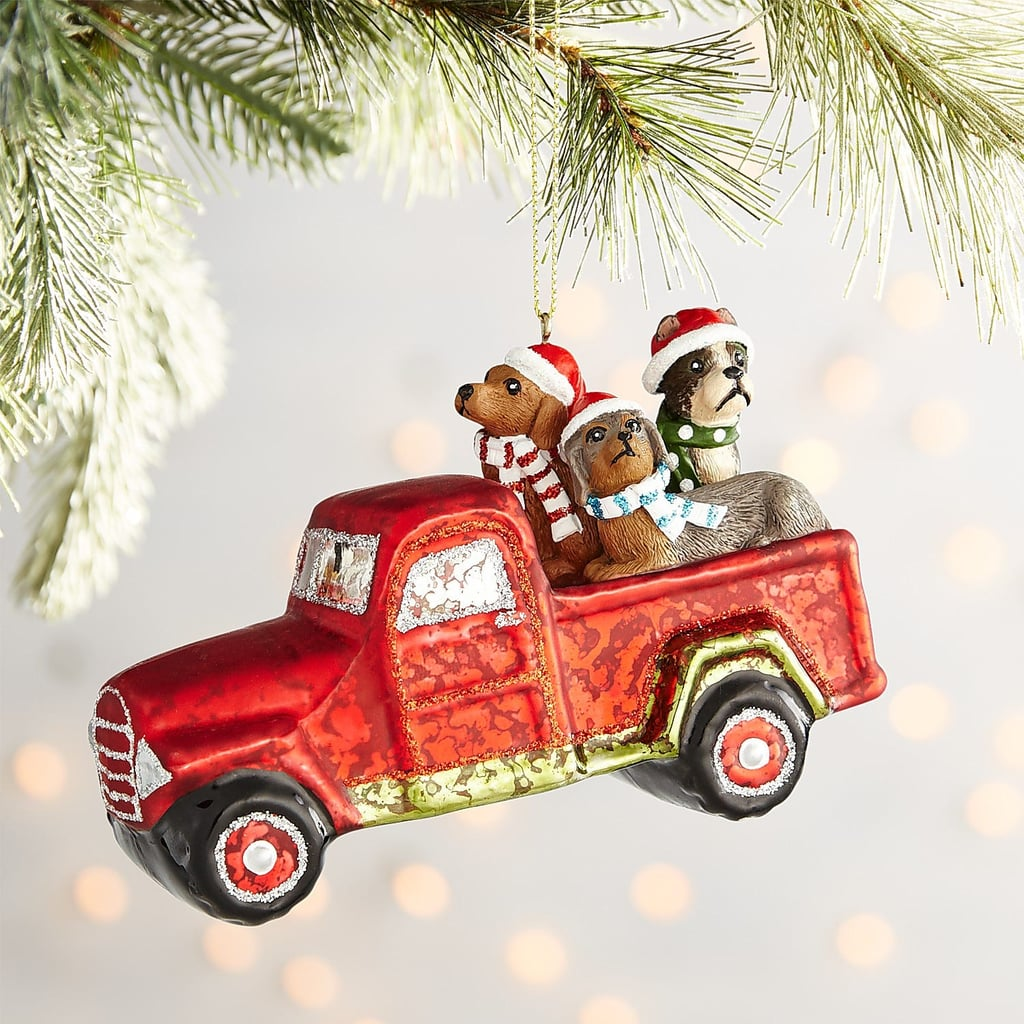 Red Truck With Dogs Glass Ornament