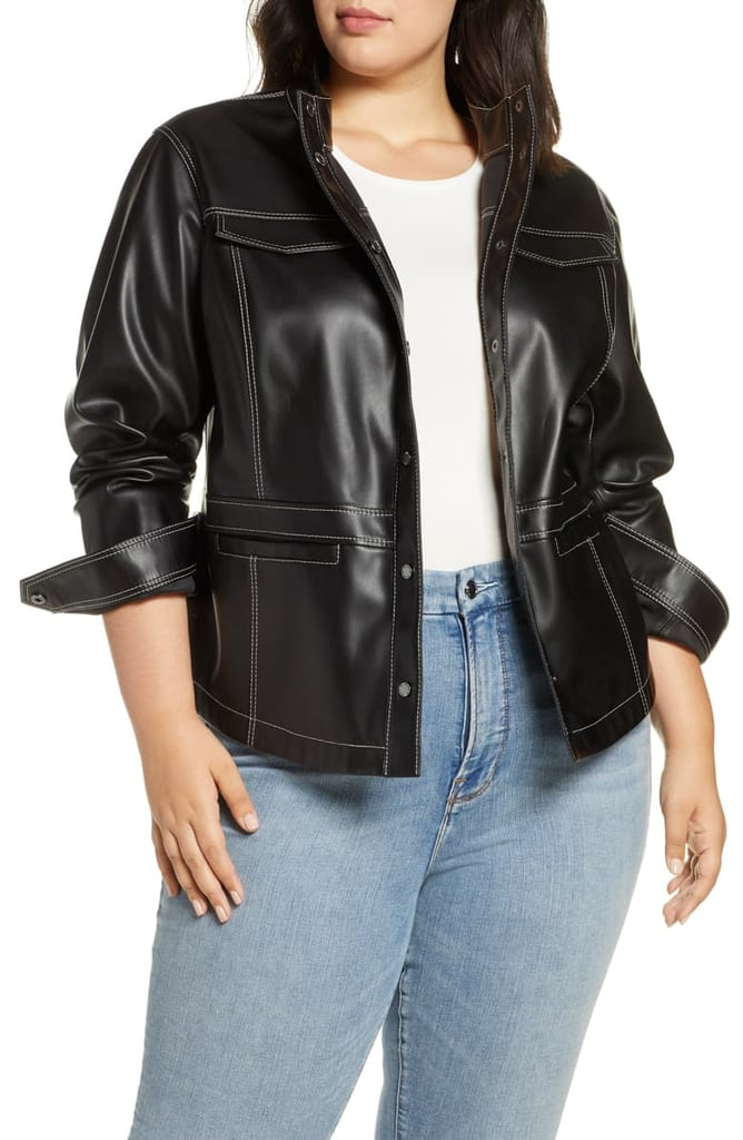 Sam Edelman Faux Leather Shirt Jacket