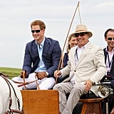 Harry arrived in a horse-drawn carriage at the Sentebale Royal Salute Polo Cup.