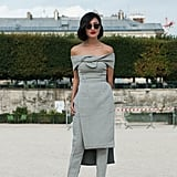Nicole Warne looked stunning in Paris in this Toni Maticevski ensemble.