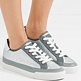 Rag & Bone Army Leather Trimmed Metallic Ripstop Sneakers
