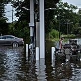 Another gas station is submerged in Gonzales, LA.