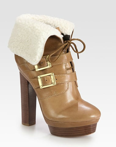 Looking for extra warmth and height? This slick Rachel Zoe Piper Leather and Shearling Lace-Up Ankle Boot ($525) will surely do the trick.