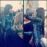 A closer look at Jennifer Hudson's shimmering Roberto Cavalli gown. Source: Instagram user theacademy