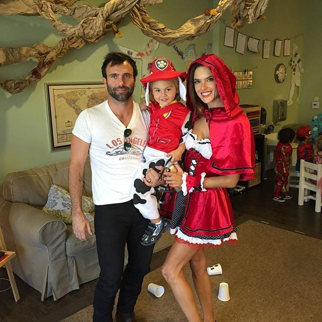alessandra ambrosio as little red riding hood and her son as marshall from paw patrol
