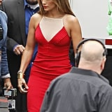 Jennifer Lopez showed off her curves in a red dress.