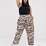 ASOS DESIGN Curve ovoid pleat front peg in tiger print