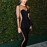 Gwen Stefani looked sporty and sexy in this sheer cut-out Stella McCartney jumpsuit.