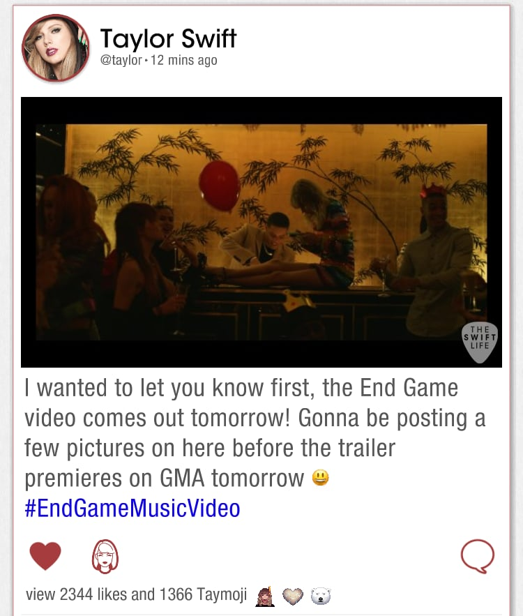 Taylor Swift Shares 'End Game' Video