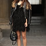 Rumi Neely went edgy-glam in feathers and leather.