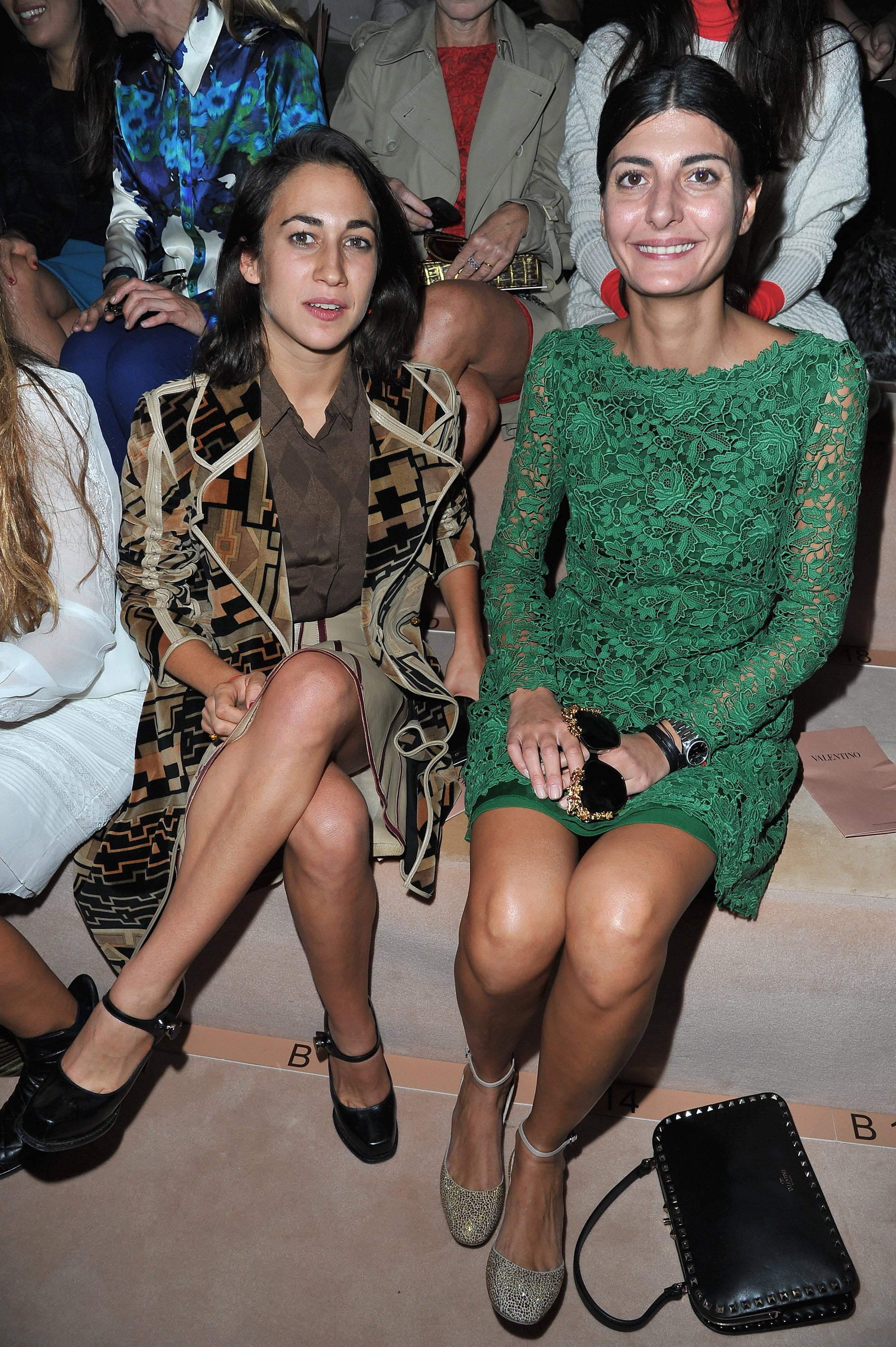 Giovanna Battaglia opted for Valentino's signature lace, and in the richest shade of green, for the label's Spring '13 show.