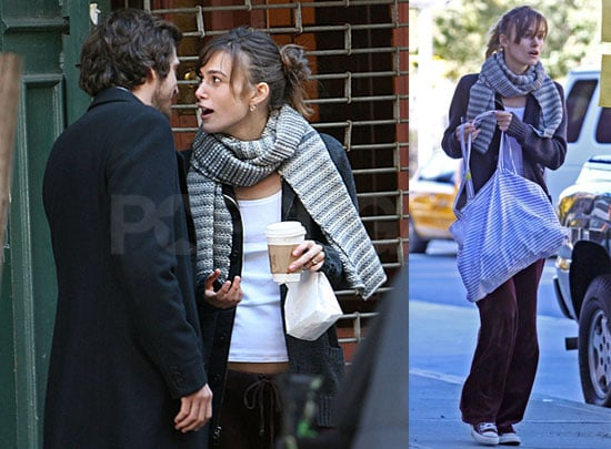 Photos of Keira Knightley and Guillaume Canet on the Set of Late Night