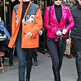 Gigi rocked a Prada leather jacket from the Spring/Summer 2018 collection with a black turtleneck and pants.