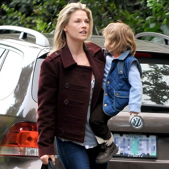 Ali Larter Wearing Burgundy Military Jacket