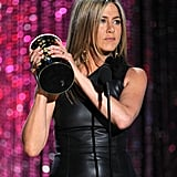 Jennifer Aniston showed off her hot new statue.