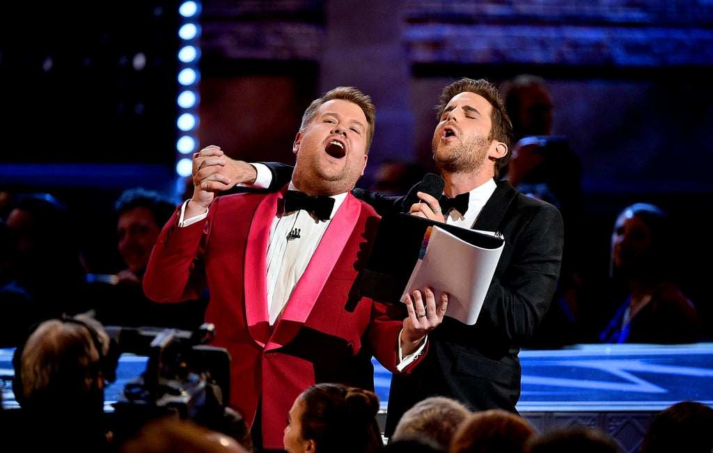 """James Corden enlisted Ben Platt to do some Broadway-themed karaoke at the Tony Awards on Sunday. During a commercial break, the host and the 25-year-old Tony winner put on a showstopping performance of """"Tomorrow"""" from Annie. Even though the performance wasn't televised during the actual show, a few lucky people in the audience were able to snap the cute moment on video. Can we all just give Platt a big round of applause for that incredible high note? You can bet your bottom dollar that we'll be replaying this video on repeat."""