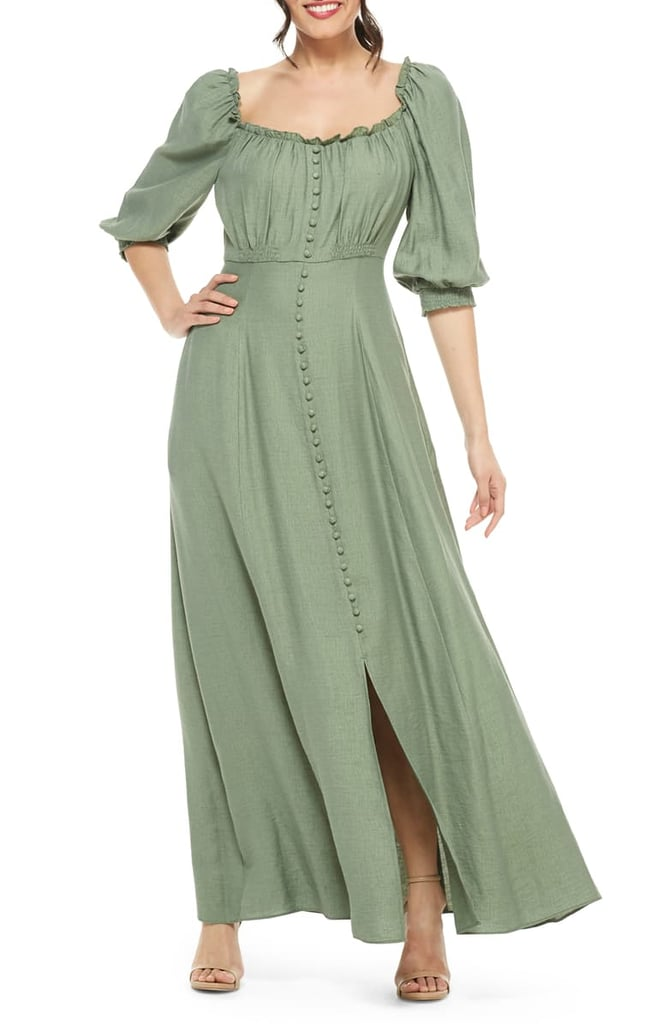 Gal Meets Glam Collection Joanna Shirred-Neck Maxi Dress