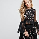 Lace and Beads Crop Top With Fluted Sleeve in 3D Embellishment
