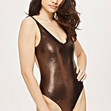 Topshop Metallic Ribbed Swimsuit