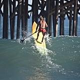 Legendary surfer Laird Hamilton took advantage of the big waves in Malibu, CA.