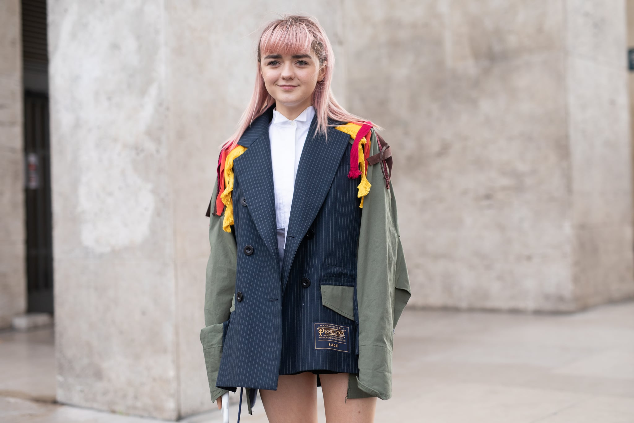 PARIS, FRANCE - MARCH 04: Maisie Williams is seen on the street attending SACAI during Paris Fashion Week AW19 wearing Sacai blazer on March 04, 2019 in Paris, France. (Photo by Matthew Sperzel/Getty Images)