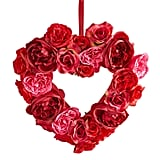 """15"""" Heart Faux Red Rose Wreath"""