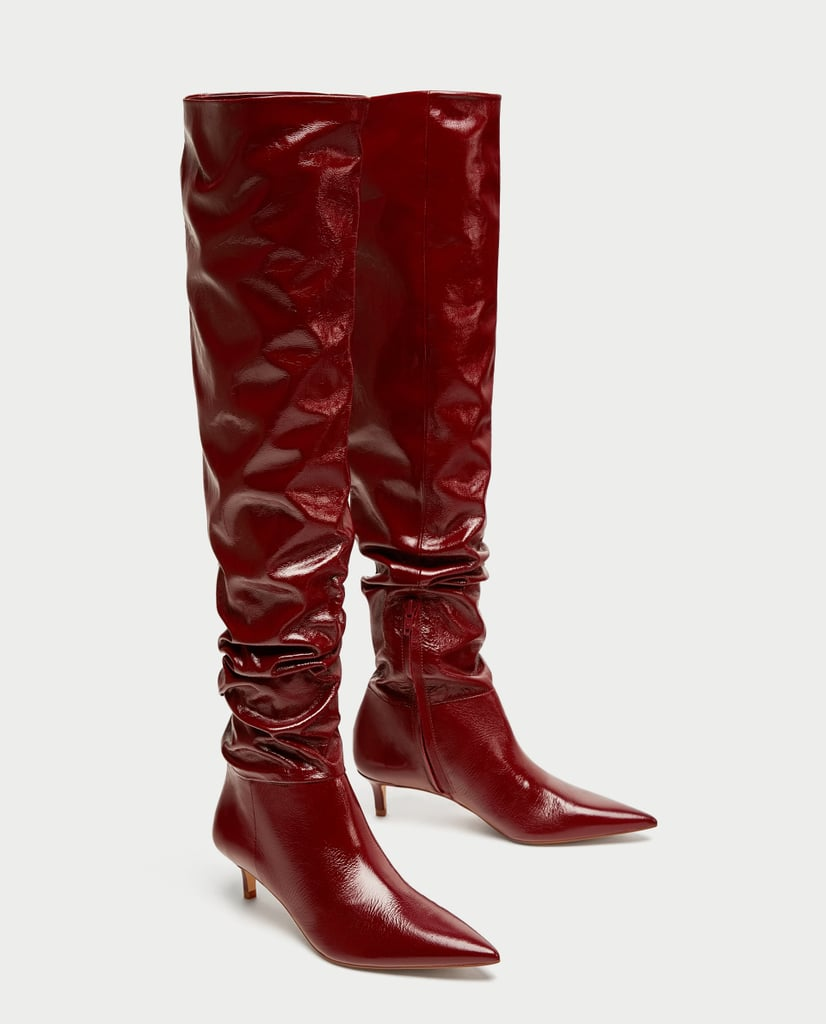 Zara Gathered Leather Over-the-Knee Boots